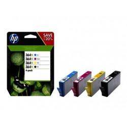 Originale HP 364XL-blækpatroner med høj kapacitet, sort/cyan/magenta/gul, 4-pak (N9J74AE)
